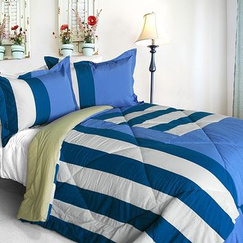 [Friendly Katy] Quilted Patchwork Down Alternative Comforter Set (King Size)
