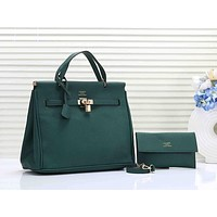 Hermes Women Leather Fashion Handbag Tote Crossbody Clutch Bag Set Two Piece