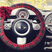 Car Steering wheel cover-Red Scottish Tartan Plaid with Chiffon Flower, Unique Automobile Accessories, Car Decor, Automobile Wheel cover