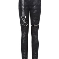Punk Rave Distortion Leggings Pants Black Goth Punk Dieselpunk Grunge Skinny
