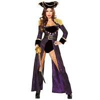 Sexy Pirate Mistress Romper with Regal Long Coat and Accessories