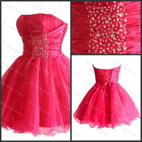 Strapless sleeveless mini organza with beads cocktail dress,homecoming dress