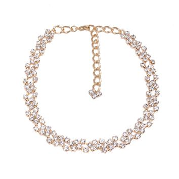 Crystal Floral Chian Choker Necklace