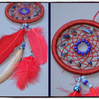 Rear View Mirror Dream catcher, Small Car Dream catcher with Lapis Lazuli, Red Dreamcatcher, Car Accessory