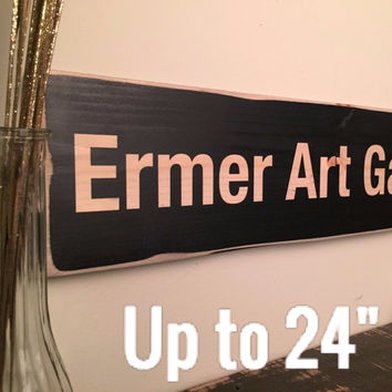 """Custom Wood Sign with Your Own Message, Black in Rustic Finish Up to 24"""" Long"""