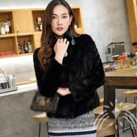 2017 luxury real natural genuine mink fur coat women fashion black color jacket outwear