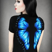 Blue Butterfly Wings Tshirt
