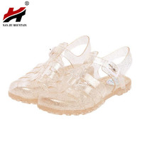 2017 summer new fashion retro crystal thick with transparent plastic Women sandals T-Roman sandals jelly Women shoes sandals