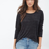 LOVE 21 Slub Knit Vented Top Black/Ivory