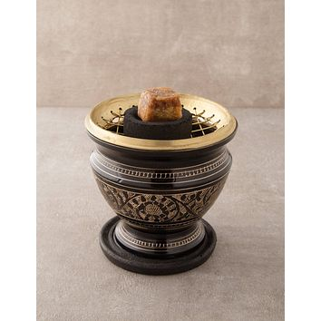 Carved Brass Charcoal Resin Burner - As-Is-Clearance