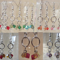 Handmade Tri-Color Crystal & Small Silver Hoop Dangle Earrings, Simple Elegance, Classic Style, Fashion Jewelry, Unique Look, Modern, Cute
