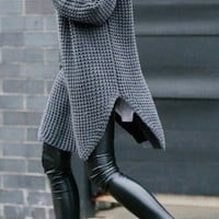 High collar and long loose sweater thick sweater female ferrule