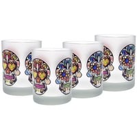 Culver Sugar Skulls Decorated Frosted Double Old Fashioned Glasses, 14-Ounce, Set of 4