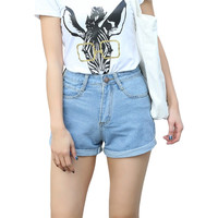 New 2017 Womens Summer High-waisted Stretch Denim Jeans Shorts