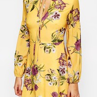 Oh My Love Long Sleeve Tea Dress with Keyhole and Tie at asos.com