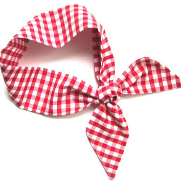 Red Gingham Scarf, Skinny Scarf, Neck Scarf, Choker Scarf, Ponytail Scarf, Retro, Rockabilly, Gift for Her, Under 20 Dollars, Ready to Ship