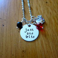 """Snow White Inspired Necklace. Poison Apple. Evil Queen Villain. """"Just One Bite"""". Snow White. Silver colored. Swarovski crystal. Halloween."""