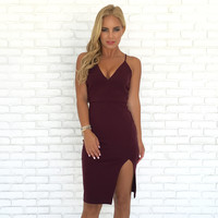 Madame Lace Midi Dress In Plum