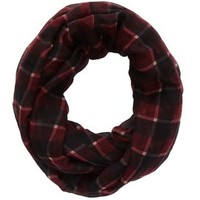 Dark Red Combo Plaid Infinity Scarf by Charlotte Russe
