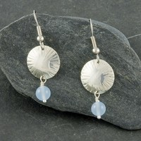 Chased dome sterling silver earrings + blue chalcedony, serenity, gemstone, shiny, handmade, gift for her, everyday wear, gemstone earrings
