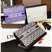 Dior new letter full printing zipper envelope bag cosmetic bag fashion business folder clutch clutch