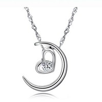 925 sterling silver moon heart necklace