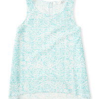 Kids' Sheer Lace Keyhole Back Tank