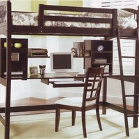 Cappuccino Finish Workstation Bunkbed Bunk Bed PC Desk:Amazon:Home & Kitchen