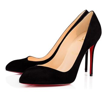 Christian Louboutin CL Corneille Black Suede 100mm Stiletto Heel 12s Online