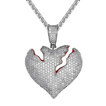Bling Broken Love Heart Red Enamel Silver Charm Free Chain