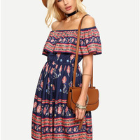 Blue Off the Shoulder Ruffles Overlay Pleated Shift Dress