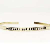 Backordered DO NO HARM Skinny Cuff // Bohemian + Wedding + Statement + Stocking Stuffer Handstamped Featherweight Layering Bracelet