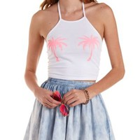 White Combo Palm Tree Graphic Cropped Halter Top by Charlotte Russe