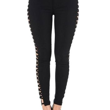 High Waisted Super Stretch X Cut-Out Skinny Pants