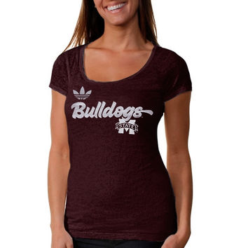 adidas Mississippi State Bulldogs Ladies Brushed Script Scoop Burnout T-Shirt - Maroon