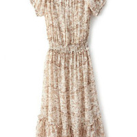 Apricot Short Sleeve Floral Pleated Dress - Sheinside.com