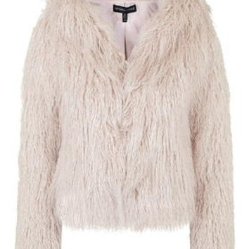 **Faux Fur Hooded Coat By Kendall + Kylie at Topshop - Pink