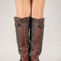 Bamboo Contrast Zipper Studded Riding Knee High Boot