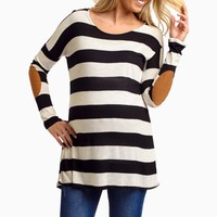 Black Ivory Striped Suede Elbow Patch Maternity Top