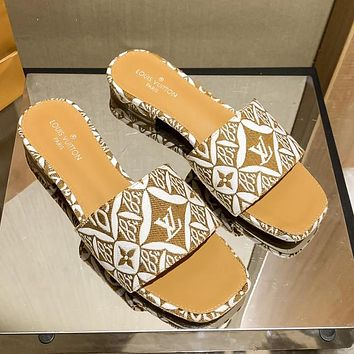 LV Louis Vuitton new woven embroidery printing ladies casual sandals slippers Shoes Yellow