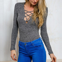 Heathered Ash Lace-up Front Slim Fit Top