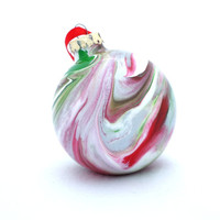 OOAK Glass Christmas Ball Hand Painted Inside Red Green White Large Ornament