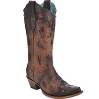 Corral Brown Embossed & Studs Boots