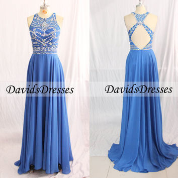 Blue Beaded Long Prom Dress, Backless Prom Dresses 2016 Custom Made