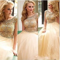 [128.99] Stunning Tulle Bateau Neckline A-Line Prom Dresses With Beadings - dressilyme.com