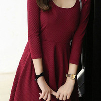 Burgundy Ruched Mini Dress