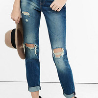 Distressed Dark Blue Faded Express 90S Jean from EXPRESS
