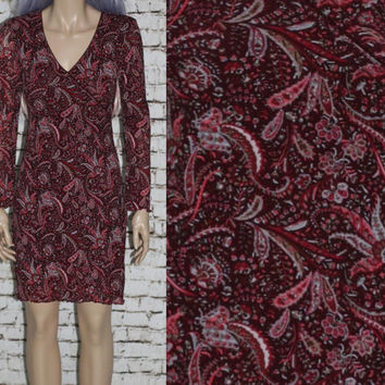 90s Dress Long Sleeves Mini Short Floral Boho Gypsy Grunge Festival Hipster Hippie S XS Mesh Lace Ruffle Romantic Ethnic India Burgundy Wine