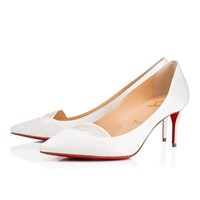 Christian Louboutin Cl Avaga Off White Crepe Satin/satin/lurex 18s Bridal 1181011wh19