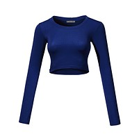 Lightweight Long Sleeve Scoop Neck Crop Top